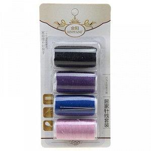 Набор для шитья 5 предметов: цветные нитки - 4 штуки; иголки, в блистере (Китай)