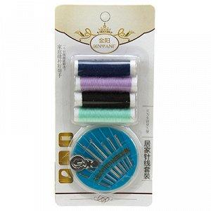 Набор для шитья 6 предметов: цветные нитки - 4 штуки; иголки; нитковдеватель, в блистере (Китай)