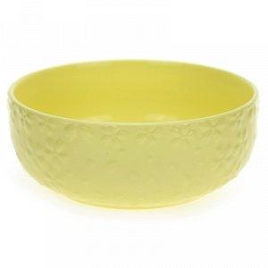 """""""ДМ"""" Салатник фарфоровый """"Цветок-колор"""" 750мл, д14,7см, желтый (Китай)"""