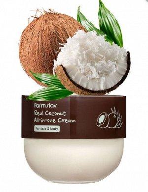 Farm Stay Real Coconut All-in-one cream Многофункциональный питательный крем с кокосом для ухода за кожей лица и тела 300 мл