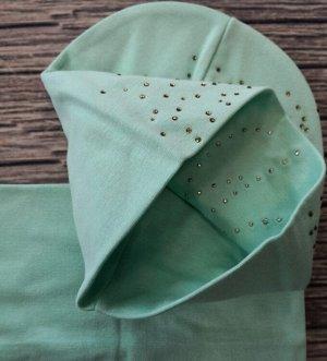 Набор шапка + снуд. Цвет светло-бирюзовый