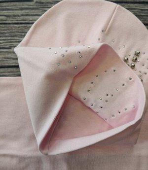 Набор шапка + снуд. Цвет светло-розовый