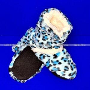 Тапочки-сапожки подростковые меховые леопардовые