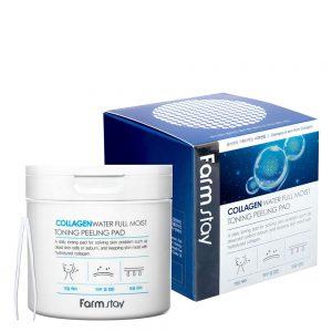 Farm stay Collagen Water Full Moist Toning Peeling Pad Очищающие пилинг-диски с коллагеном 150 мл