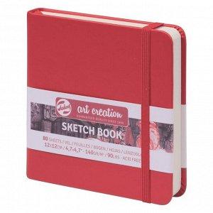 Блокнот для рисунков квадратный 120 х 120, 140 г/м? Royal Talens, 80 листов Art Creation, твёрдая обложка, красный