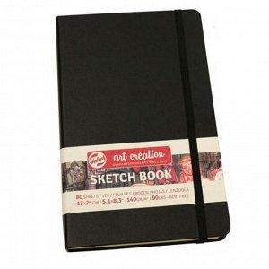 Блокнот для рисунков А5, 140 г/м?, Royal Talens, 130 х 210, 80 листов, твёрдая обложка, чёрный