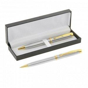 Ручка шариковая, подарочная, в кожзам футляре, поворотная, «Файт», серебро с золотом
