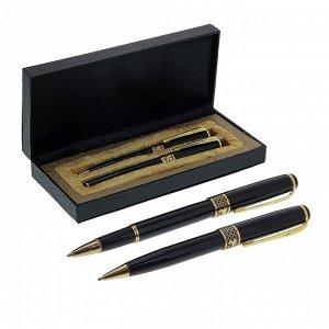 Ручки подарочные, 2 шт.: капиллярная, шариковая поворотная, в кожзам футляре, «Империя», чёрные