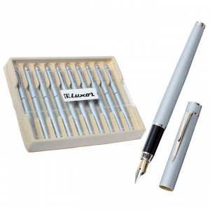 Ручка перьевая Luxor Sleek, линия 0.8 мм, чернила синие, корпус серый металлик