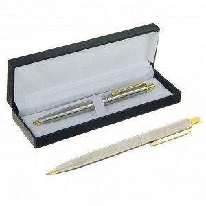 Ручка шариковая, подарочная, автоматическая, в кожзам футляре, «Джокер», серебристо-золотистый