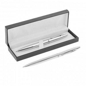Ручка шариковая, подарочная, автоматическая, в кожзам футляре, «Джокер», серебристый