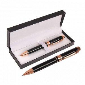 Ручка подарочная, шариковая, в кожзам футляре, поворотная, «Грант», корпус чёрно-золотистый