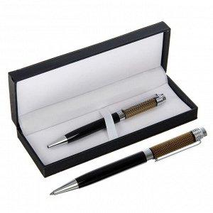 Ручка подарочная, шариковая, в кожзам футляре, поворотная, VIP корпус, чёрная с серебристыми вставками