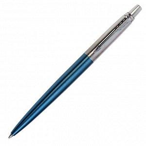Ручка шариковая Parker Jotter Core Waterloo Blue CT M, корпус из нержавеющей стали, голубой глянцевый/ хром, синие чернила (1953191)