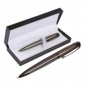 Ручка подарочная шариковая в кожзам футляре поворотная Граф корпус черный