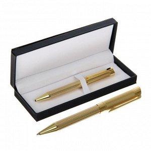 Ручка подарочная, шариковая, в кожзам футляре, поворотная, VIP корпус, золотистый корпус