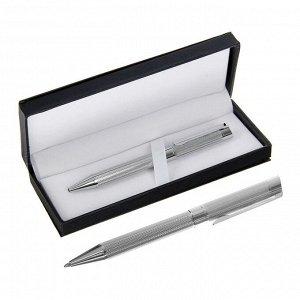 Ручка подарочная, шариковая, в кожзам футляре, поворотная, VIP корпус, серебряный корпус