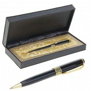 Ручка шариковая, подарочная, в кожзам футляре, «Респект», чёрно-золотистая