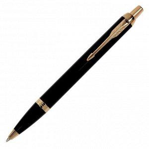 Ручка шариковая Parker IM Core Black GT M, корпус из латуни чёрный матовый/ золотой, синие чернила (1931666)