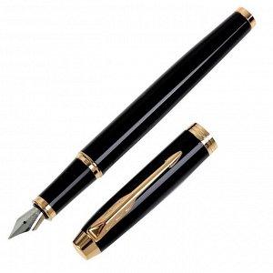 Ручка перьевая Parker IM Core Black GT, корпус из нержавеющей стали, чёрный глянцевый/ золотой, синие чернила, перо F (тонкое) (1931645)