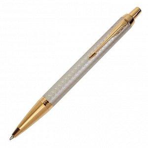 Ручка шариковая Parker IM Premium Grey GT M, корпус из нержавеющей стали серый глянцевый/ золотой, синие чернила (1931687)