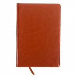 Ежедневник полудатированный, А5, 193 листа, в линейку, золотой срез, перфорированный угол, карта, ляссе, обложка из пвх, светло-коричневый
