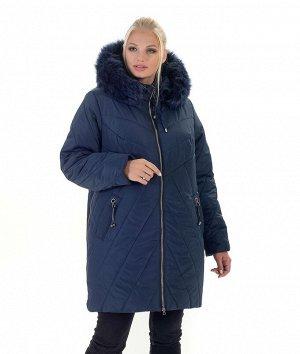 Куртка женская зимняя с мехом Код: 138 синий. Песец