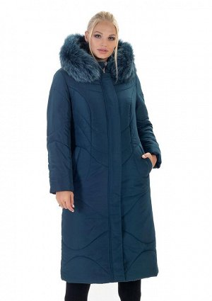 Модный зимний пуховик женский малахитового цвета Код: 135 малахит. песец