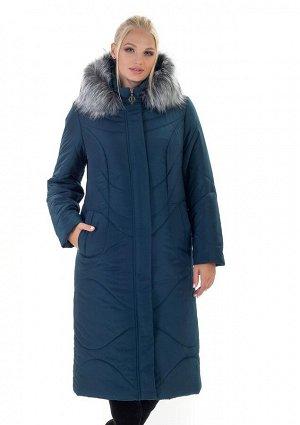 Пальто зимнее женское с мехом Код: 135 малахит. мех