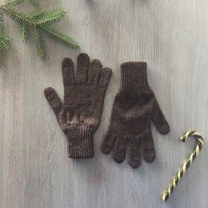 Перчатки женские, цвет коричневый, размер 18