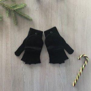 Перчатки (Митенки) женские, цвет чёрный, размер 18