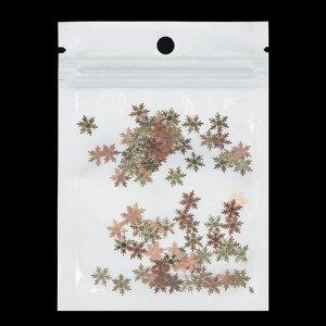Декоративные элементы «Снежинки», 0,8 ? 0,8 см, 100 шт, цвет золото/розовое золото