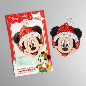 Новогодняя игрушка из фетра с вышивкой стразами, Микки Маус