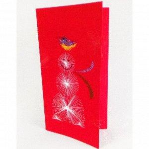 Набор для создания новогодней поздравительной открытки - изонить «Снеговик»