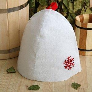 Шапка банная с аппликацией «Снежинка», экофетр, красная 3745235