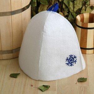 Шапка банная с аппликацией «Снежинка», экофетр, синяя 3745236