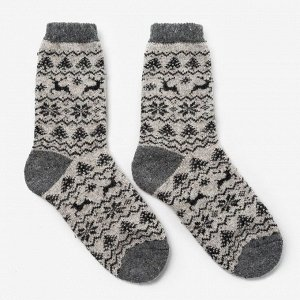 Носки мужские шерстяные «Орнамент-зима», цвет лён, размер 29