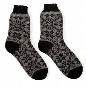 Носки мужские шерстяные «Снежинка в орнаменте», цвет серый, размер 27