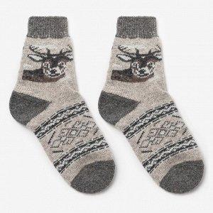 Носки мужские шерстяные «Олень», цвет лён, размер 29