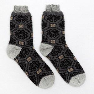 Носки мужские шерстяные «Снежинка в орнаменте», цвет бежевый, размер 25