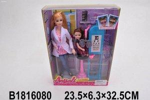 Кукла 333-4 Врач окулист с пациентом и аксесс. в кор.