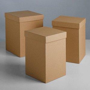 """Набор коробок 3в1 """"Крафт"""", 18 x 18 x 25 - 15 x 15 x 23 см"""