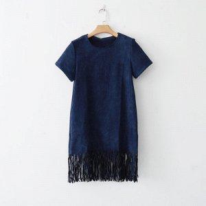 Темно-синее платье под замшу на 46-48