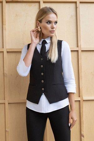 Костюм Костюм ЮРС 19-148/1  Рост: 164 см.  Костюм женский, тройка, состоит из жилетки полуприлегающего силуэта на подкладке, брюк и блузки. В комплект к костюму идет завязывающийся галстук. Жилетка ж