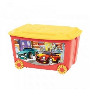 Ящик для игрушек на колесах с апликацией 580*390*335мм (красный) 431380904