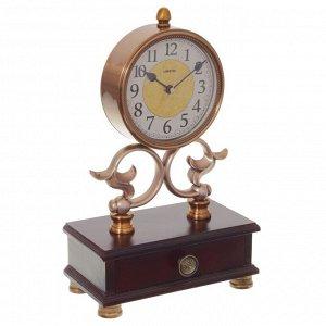 Часы настольные декоративные со шкатулкой, L24 W13 H39 см,  (1хАА не прилаг.)