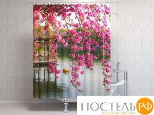 Фотоштора для ванной 145x180, 1 полотно, на люверсах Цветы в китайском парке