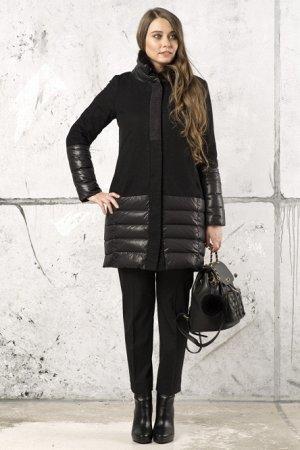 Пальто Рост: 168 Ткань: Верх – полиэстер 100%. Подкладка – полиэстер 80%, вискоза 20% Полупальто женское О-образного силуэта из драпа и плащевой стеганой ткани с застежкой на 9 потайных кнопках. Ворот