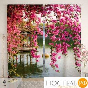 Фотошторы блэкаут 145х260-2 шт Цветы в китайском парке