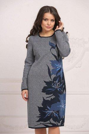 Вязаное платье 4027 К  Синий небо